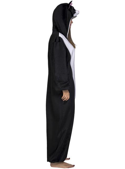 Zwarte kat onesie kostuum voor volwassenen