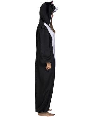 Maskeraddräkt katt svart onesie för vuxen