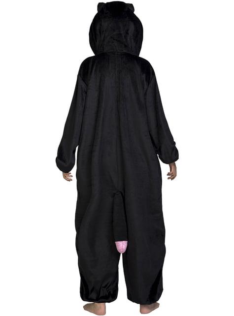 Disfraz de gato de negro onesie para adulto - original