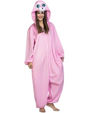 Roze walrus onesie kostuum voor volwassenen