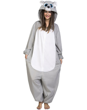 Disfraz de oso gris onesie para adulto
