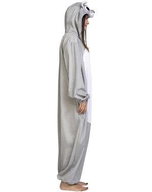 Grijze beer onesie kostuum voor volwassenen