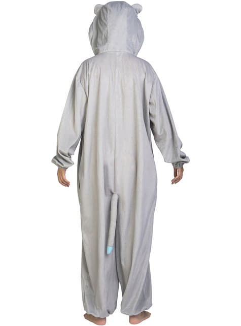 Grey bear onesie costume for adults
