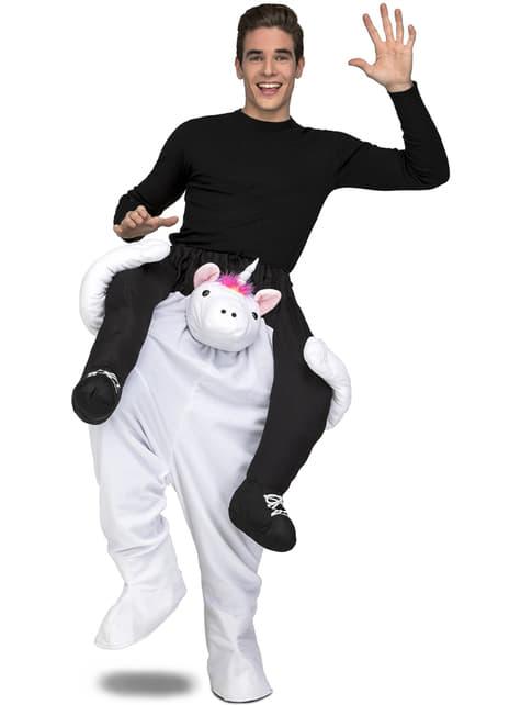 Disfraz de unicornio blanco ride on para adulto