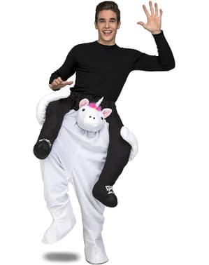 Hvit enhjørning ri-på kostyme til voksne