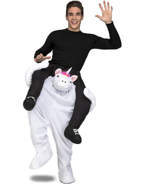 Carry Me White Unicorn Costume for Adults