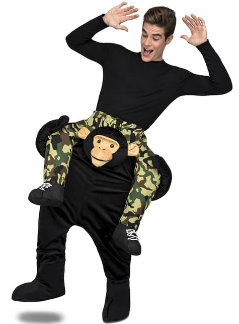 Piggyback μαύρο κοστούμι πιθήκου για ενήλικες