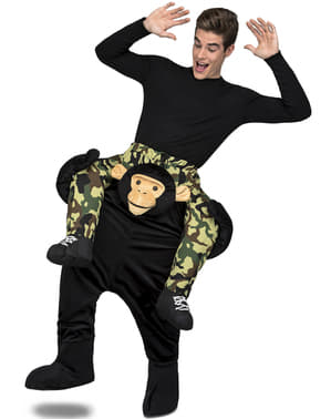 Fato ás costas de macaco preto para adulto