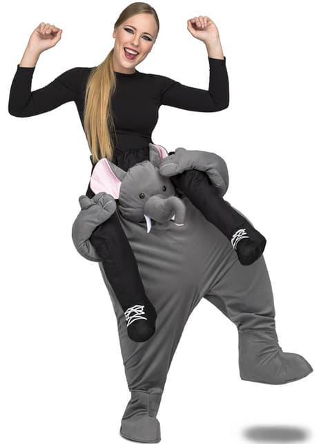 Fato de elefante cinzento ride on para adulto