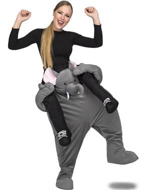Grå elefant ri-på kostyme til voksne
