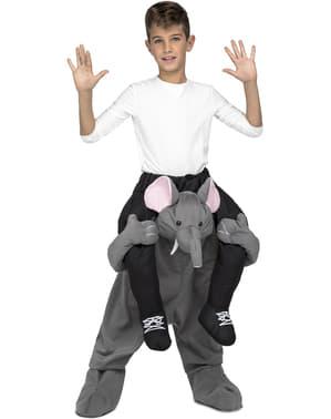 Grå elefant ri-på kostyme til barn