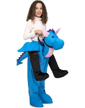 Maskeraddräkt drake blå ride on för barn