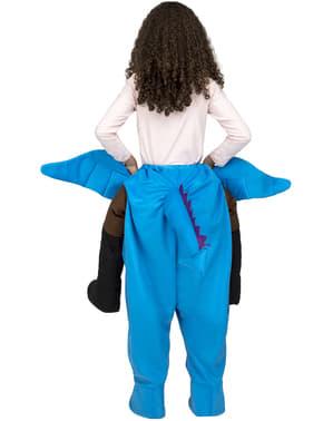 Costum ride on de dragon albastru pentru copii