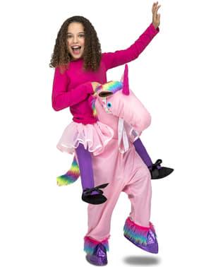 Disfraz a hombros de unicornio rosa infantil