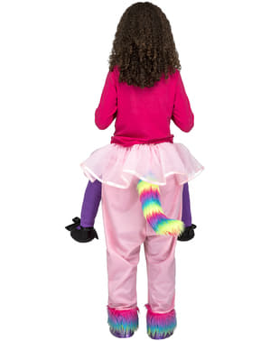 बच्चों के लिए पोशाक पर गुलाबी गेंडा सवारी