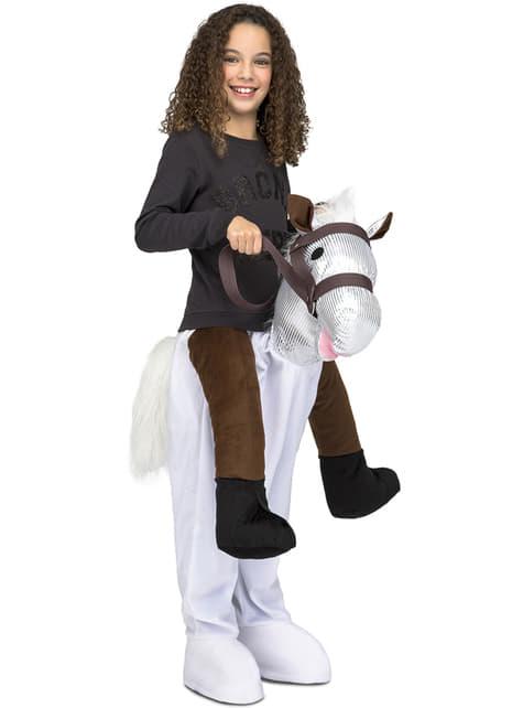 Pferde Ride On Kostüm weiß für Kinder