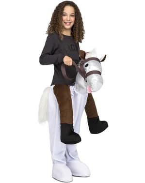 Costum ride on de cal alb pentru copii