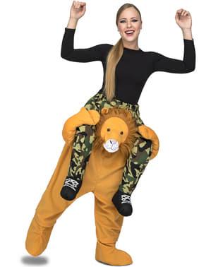 Costum de leu ride on pentru adult
