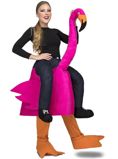 Disfraz de flamenco rosa ride on para adulto