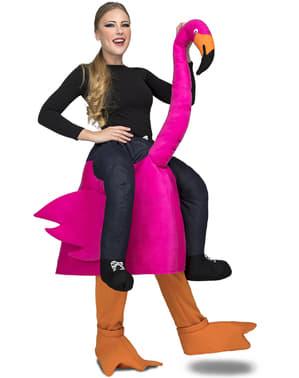 Disfraz a hombros de flamenco rosa para adulto