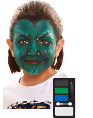 Green witch make-up for kids