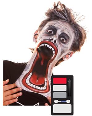 Trucco da zombie con mandibola rotta per bambino