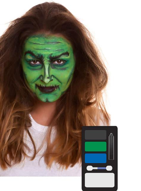 Maquillaje de bruja verde para adulto