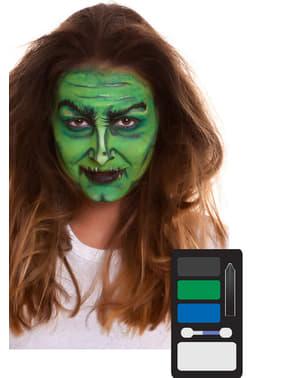Machiaj de vrăjitoare verde pentru adult