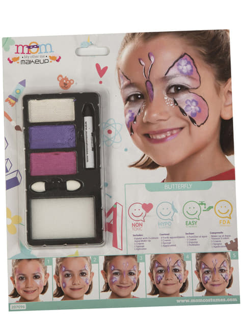 Maquillaje de mariposa fucsia infantil