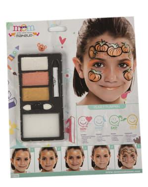 Oransje og svarte Halloween make-up til barn