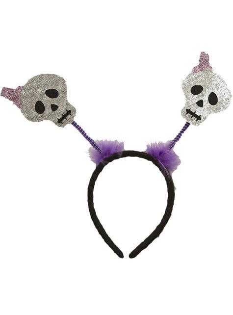 Serre-tête tête de mort violette adulte
