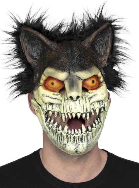 Máscara de gato zombie con pelo para adulto