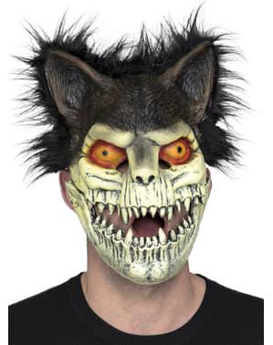 Máscara de gato zombie com pelo para adulto