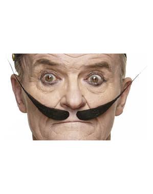 Moustache épaisse séparation au milieu et pointes vers le haut