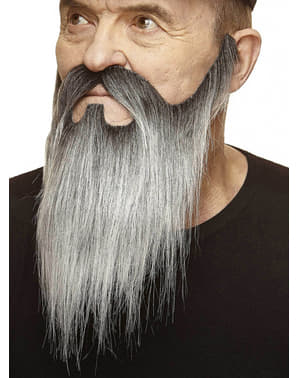 Grey mustache and long grey beard coming from sideburns