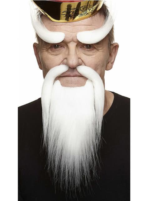 Cejas, bigote y barba de samurái anciano blancos