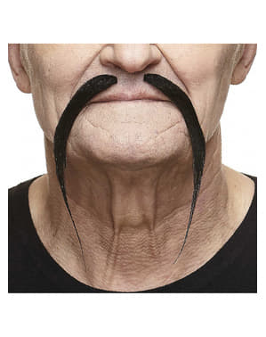 Skinny mustache that points downwards with separation in the middle