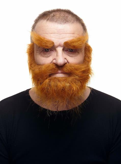 Cejas, bigote y barba super poblados pelirrojos