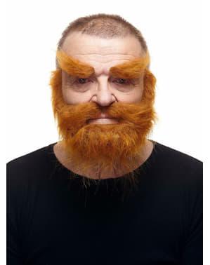 Bardzo krzaczasta ruda broda, wąsy i brwi