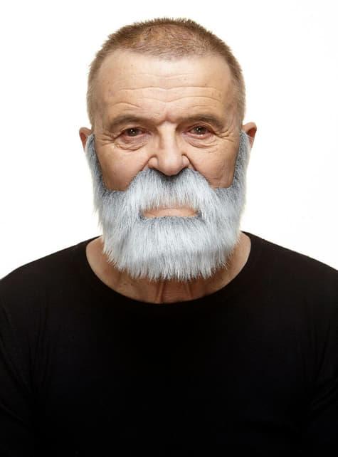 Super bushy white mustache and beard