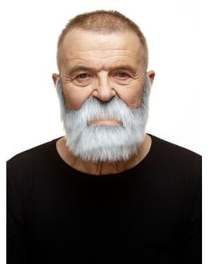 Dichtgewachsener Bart mit Schnurrbart weiß