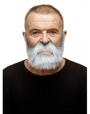 Moustache et barbe bien fournie blanches