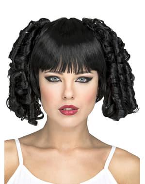 Schwarze Perücke mit lockigen Zöpfen für Damen