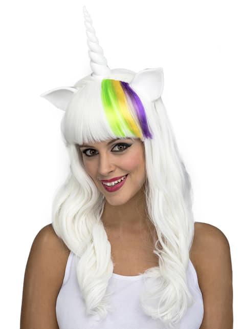 Perruque longue licorne blanche femme