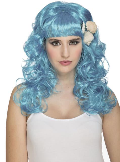 Peruca de sereia azul para mulher
