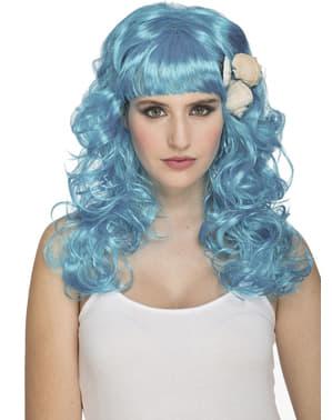 Peluca de sirena azul para mujer