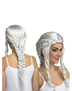 Peluca de Daenerys plateada para mujer