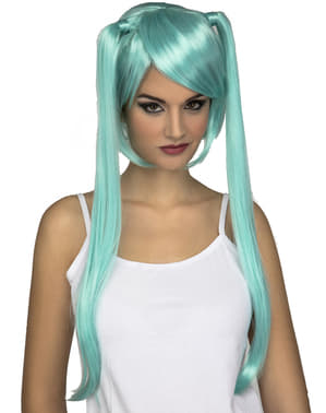 Short turquoise wig with long pigtails for women