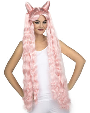 Long pink pigtails wig for women