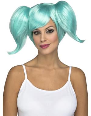 Perruque courte avec couettes turquoise femme